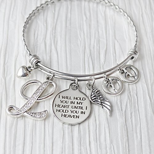 Loss of a Child Memorial Gift, Bangle Bracelet, I will hold you in my heart until I hold you in heaven Bracelet, Expandable Charm Bracelet, Angel Wing Jewelry, Footprint Charm, Baby Infant Miscarriage
