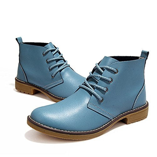 Winter Faux Bootie Snow M Up Boot Chukka US Women Lace B Ankle Booties 8 Female for Blue Leather gracosy Shoes POxXvx