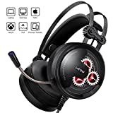 LED Gaming Headset with Mic, LATOW GH02 Stereo Over Ear Noise Cancelling Headphones, 50mm Driver, Bass Surround, Soft Memory Earmuffs Compatible for PS4 PC Xbox One Switch Professional Gamer Headset