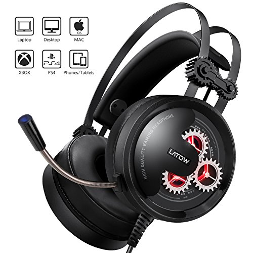 Gaming Headset with Mic, Latow GH02 Stereo Over Ear Noise Cancelling Headphones, 50mm Driver, Led Lights, Bass Surround, Soft Memory Earmuffs for PS4, PC, Xbox One, Switch, Professional Gamer - Controller Gaming Professional