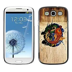 Paccase / SLIM PC / Aliminium Casa Carcasa Funda Case Cover para - Gold Fish Dragon Green Nature Fairytale Symbol - Samsung Galaxy S3 I9300