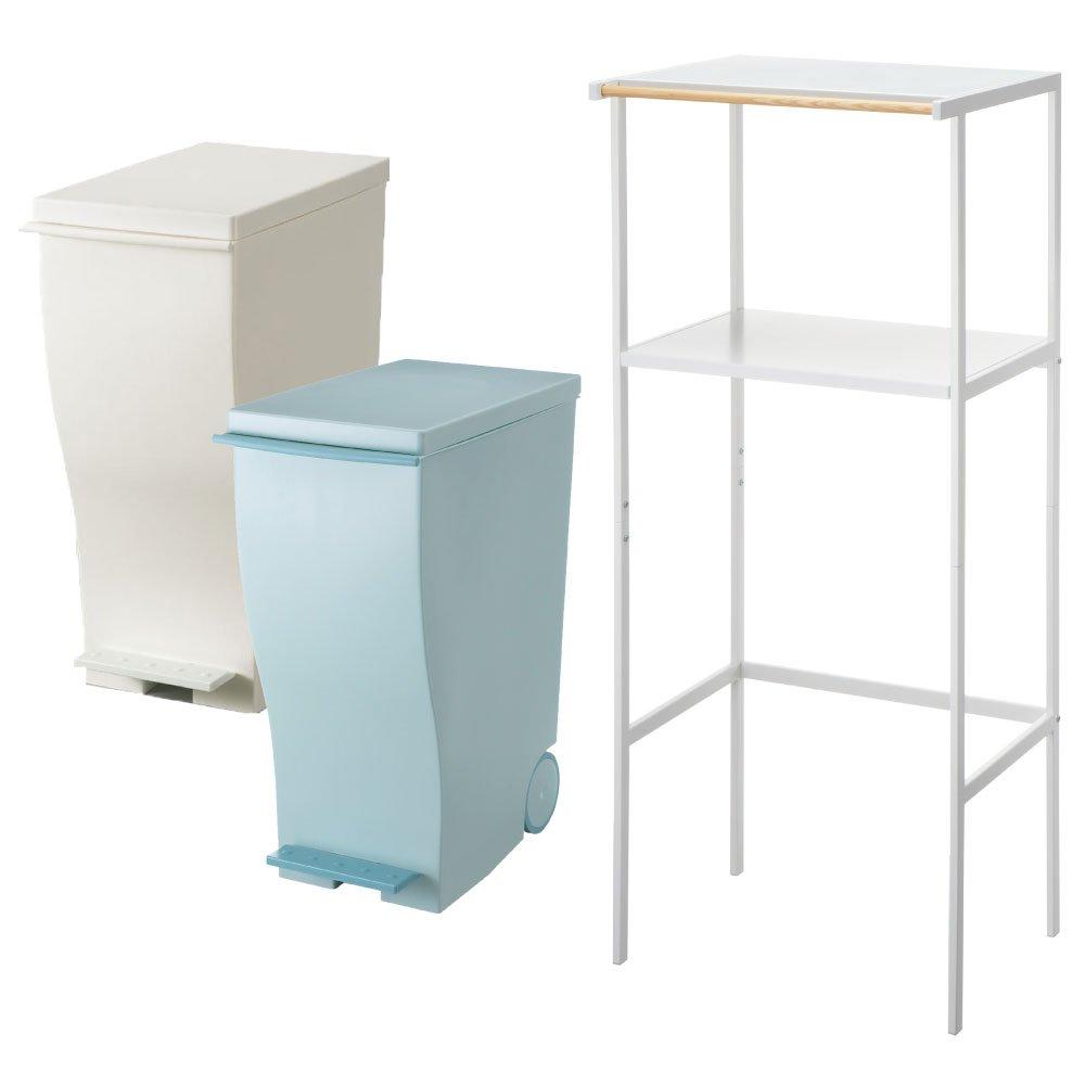 【3点セット】ゴミ箱上ラック tower ホワイト + kcud スリムペダル 30 2点セット ゴミ箱 ごみ箱 ダストボックス レンジ台 ゴミ箱ラック (ホワイト×オールブルーグリーン) B0711TXRXT ホワイト×オールブルーグリーン ホワイト×オールブルーグリーン