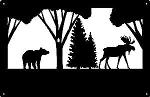Wildlife Wall Art - Bear & Moose - Size 13.5