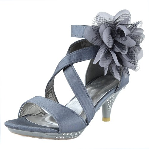 878d58e21cf02d DS By KSC Kids Dress Sandals Strappy Satin Flower Tulle High Heel Girls  Shoes Gray - Buy Online in UAE.