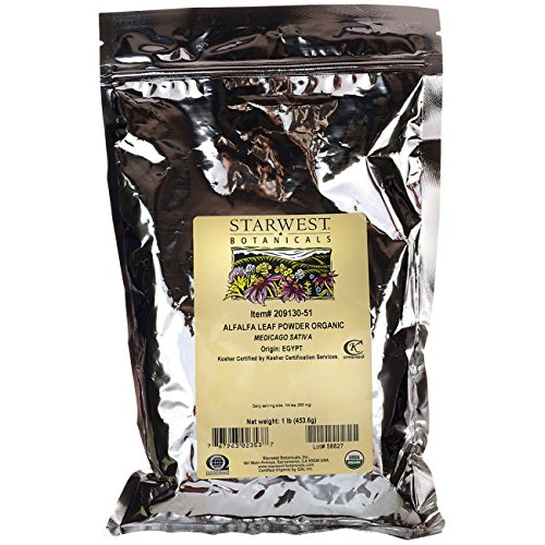 Starwest Botanicals Organic Egyptian Alfalfa Leaf Powder, 1 Pound Bulk Bag (Juice Alfalfa Powder)