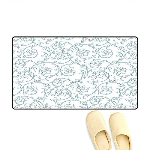 Bath Mat Flower Orchids Bohemian Style Vintage Petals Vines Pattern French Country Style Door Mat Small Rug Blue White 32