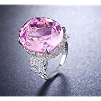 925 Silver Filled Big Pink Sapphire Birthstone Engagement Wedding Ring size 6-10 (10)