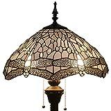 Tiffany Style Reading Floor Lamp Table Desk Lighting White Dragonfly W16H64 E26