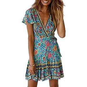 Abravo Mujer Vestido Bohemio Corto Florales Nacional Verano Vestido Casual Magas Cortas Chic de Noche Playa Vacaciones | DeHippies.com
