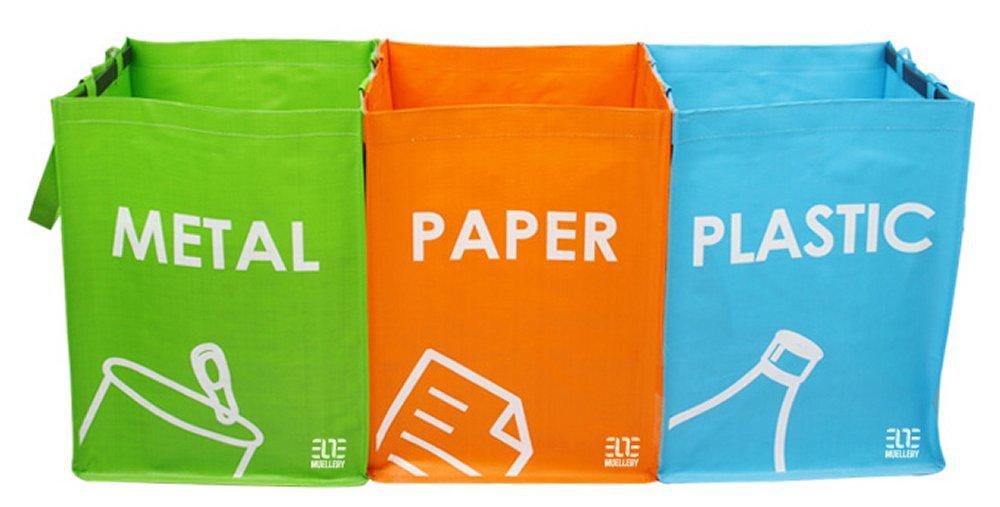 MoonWorld Recycling Bag Recycle Box Bins Waterproof Hook and Loop Fastener SR1017 (OneTone) Muellery