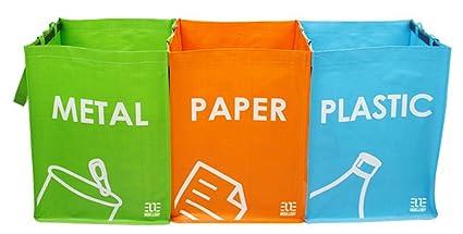 Cubo de basura de reciclaje juego de 3 bolsas de reciclaje con asas de transporte SR1017