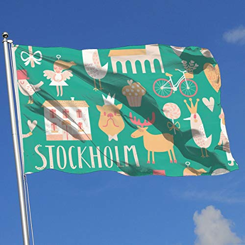 (Stylish Stockholm Concept Pattern 100% Polyester Single Layer Translucent Flags, 3' X 5' Outdoor Breeze Flag, 3 X 5/90 X 150CM Banner)