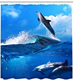 How to Make a Shower Curtain Sea Animal Dolphin Plastic shower curtains 100% Polyester 71x71
