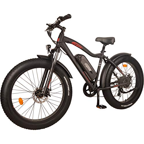 DJ Fat Bike 750W 48V 13Ah Power Electric Bicycle, Matte Black, LED Bike Light, Suspension Fork and Shimano Gear,