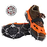 Vinqliq 19 Teeth Claws Micro Spikes Footwear Ice Traction System Crampons Non-Slip Shoes Cover for Walking, Jogging, or Hiking on Snow and Ice (19 Spikes/Orange M)