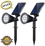 Solar LED Lights (2 Pack) [3rd Generation] Siensync(TM) 2-in-1 Solar Powered Outdoor Spotlight for Landscape Lighting Waterproof Wall Light Bulb Driveway Yard Lawn Pathway Garden