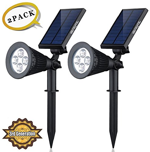 Solar LED Lights (2 Pack) [3rd Generation] Siensync(TM) 2-in-1 Solar Powered Outdoor Spotlight for Landscape Lighting Waterproof Wall Light Bulb Driveway Yard Lawn Pathway Garden by Siensync