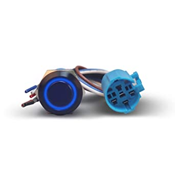 Blue Momentary Push Button Starter Switch 19mm 1NO1NC Ring Illuminated LED On Off Micro 12 Volt Push Button Switch with 5pin Harness 1PC