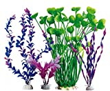 #9: WOO-WIN Large Aquarium Decorations Plants, Fish Tank Artificial Plants Derorations, Red, Purple, Green, be Used Fairy Garden, 15.7 inch, 4 Pieces