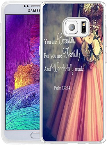 Note 5 Case Christian Sayings,Hungo Soft TPU Silicone Protective Cover Compatible with Samsung Galaxy Note 5 Bible Verses Psalm 139:14