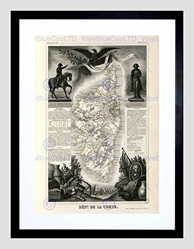 MAP Old France LEVASSEUR Corsica Department Black Framed Art Print ()