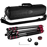 """Neewer Carbon Fiber 63""""/160cm Tripod Monopod with 360 Degree Ball Head,1/4""""Quick Shoe Plate,and Bubble Level Including Carrying Bag for DSLR Camera,Video Camcorder,Load Capacity 33lbs/15kg"""