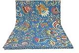 Blue Multicolor Mukut Print King Size Kantha Quilt, Kantha Blanket, Bed Cover, King Kantha bedspread, Bohemian Bedding Size 90x108 Inch