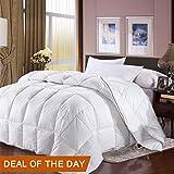 LUXURIOUS KING / CALIFORNIA KING Size Goose Down Comforter 100% Egyptian Cotton Cover White Stripe Duvet Insert