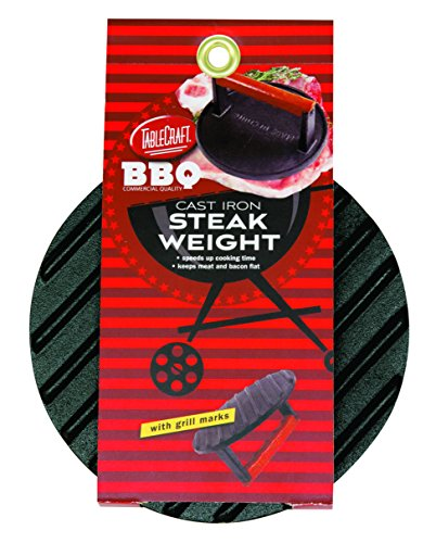 TableCraft BBQ3015 BBQ Coated Cast Iron 7-Inch Round Steak Weight with Wood Handle, Small, Black