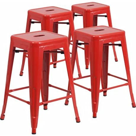 Metal Patio Kitchen Four Stool Set Lightweight Design 24 High Chairs Backless Multiple Colors Perfect For Outdoor Indoor Living Room Home Furniture BONUS E Book Red