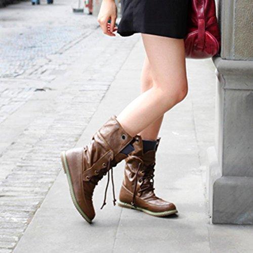 Sikye Winter Mid Kalf Martin Bandage Laarzen Mode Vrouwelijke Enkellaarsjes Vrouw Casual Schoenen Bruin