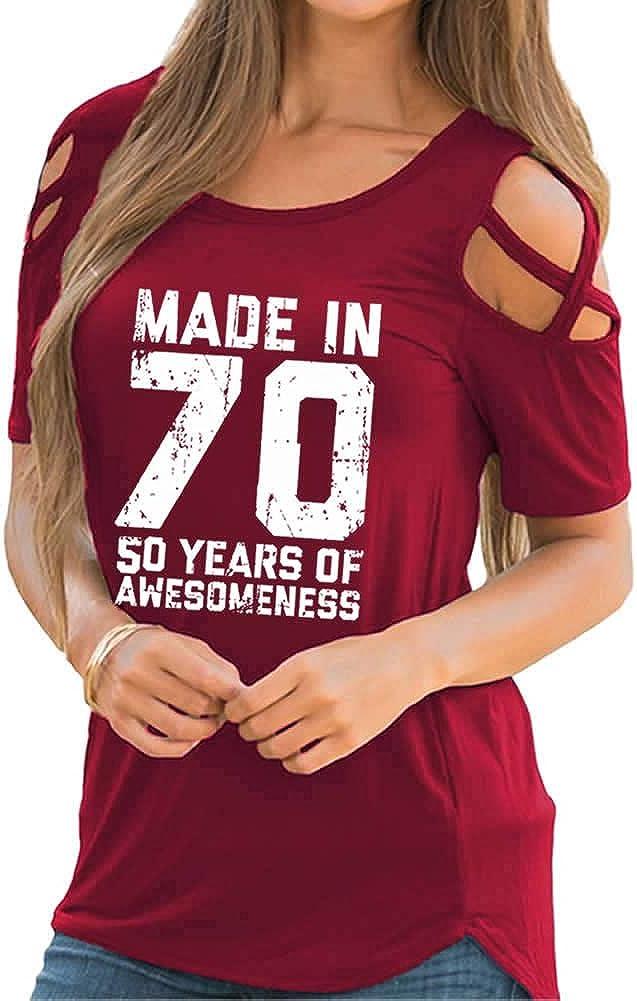 Maglietta regalo per 50/° compleanno per le donne casual manica corta spalla fredda sciolto top camicetta