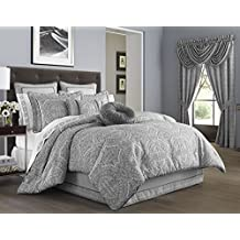 Colette Silver King Comforter Set by J Queen New York