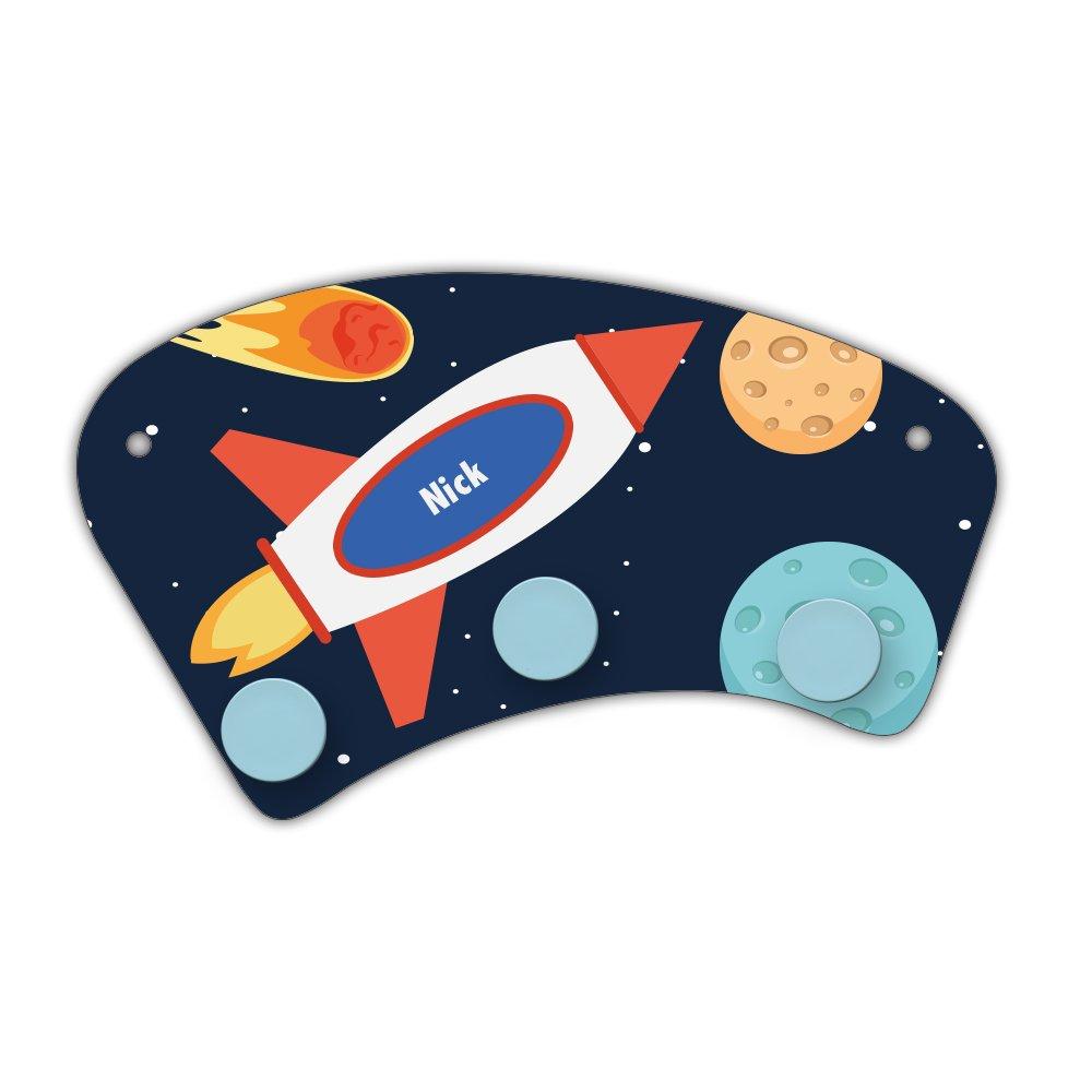 Wand-Garderobe mit Namen Nick und schönem Weltraum-Motiv für Jungen - Garderobe für Kinder - Wandgarderobe Eurofoto