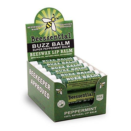 Beessential Natural Bulk Lip Balm 18 Pack For Men, Women, and Children (Peppermint)