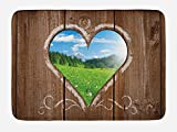Ambesonne Outhouse Bath Mat, Heart Window View from Wooden Rustic Farm Barn Shed with Chalk Art Image, Plush Bathroom Decor Mat with Non Slip Backing, 29.5 W X 17.5 W Inches, Brown Blue and Green