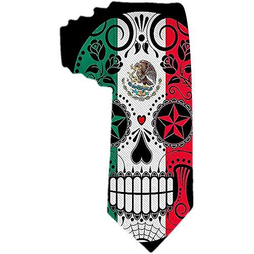Corbatas de calavera de azúcar con bandera mexicana para hombre ...