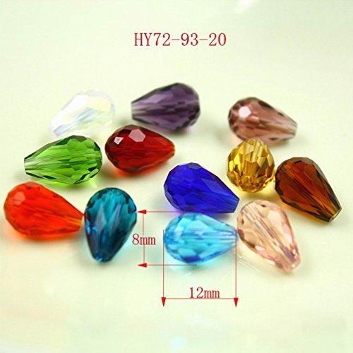 HYBEADS Loose 100pcs Mix Colour 100pcs 8x12mm Crystal Quartz Teardrop Beads Glass Beads Diy Loose ()