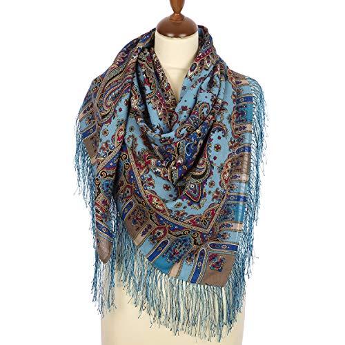 Wool Pavlovo Posad Russian Shawl Crystal Dream Blue 50?50'' 125?125 Cm