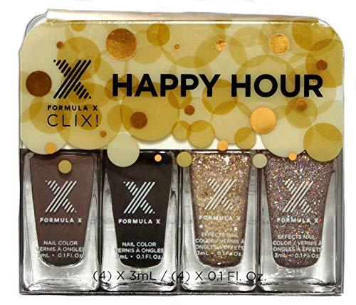 Nail Piece 4 Polish (Formula X Clix Mini 4 Piece Nail Polish Set for Sephora.Happy Hour.Take It to Go)