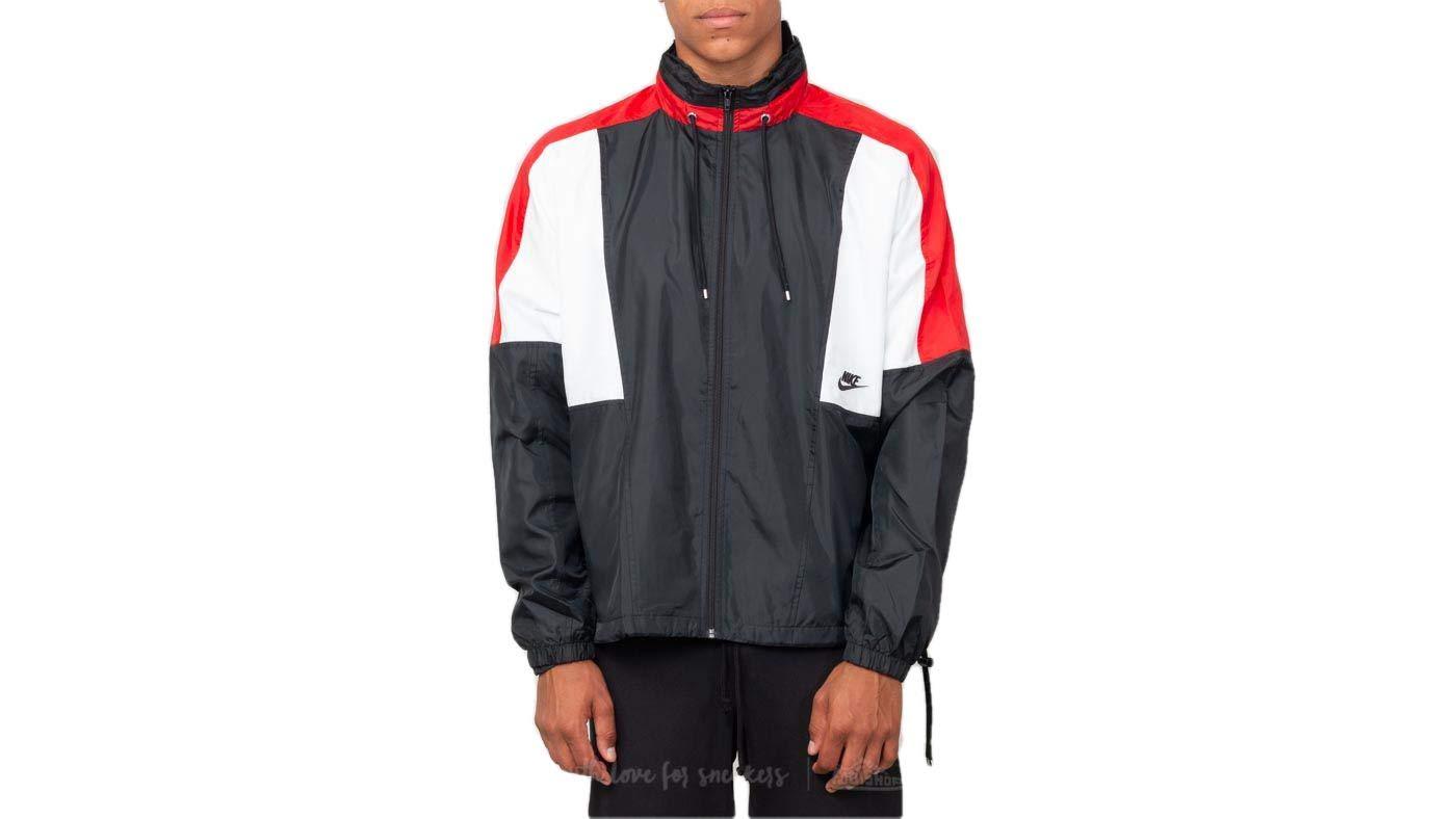 Nike Sportswear Woven Men's Jacket (Black/University Red/Summit White, Small)