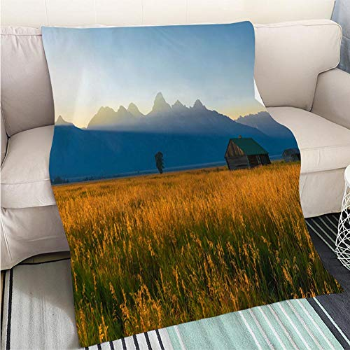 (BEICICI Custom homelife Abstract Home Decor Printing Blanket Sunset in Grand Teton National Park Living Room/Bedroom Warm Blanket)