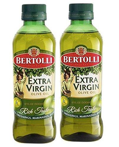 Extra Virgin Olive Oil Bertolli Bottle 17oz - Pack Two - O3 Healthy Nutrition - Menu Salad Herb Garlic Dressing Versatile Food Grilling Marinades - Cold Pressed Olives