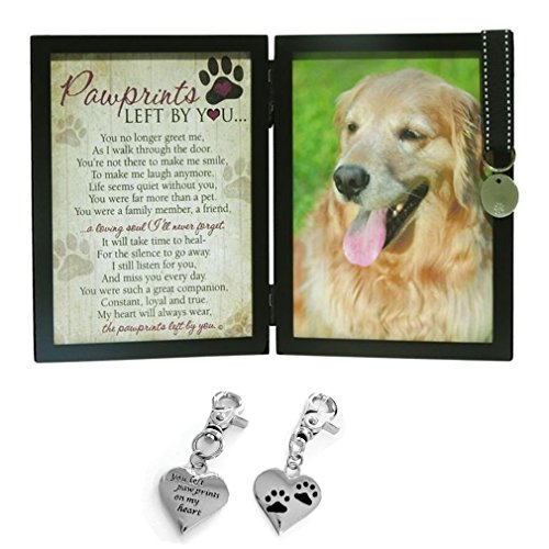 Pawprints Memorial Pet Tag Frame for Dog and Pet Memorial Clip on Charm