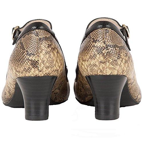 jane Marrone Distintivo scarpe Stampa Di Lotus 7 Serpente Mary Multi Ornice Segno 8SqxWwv74