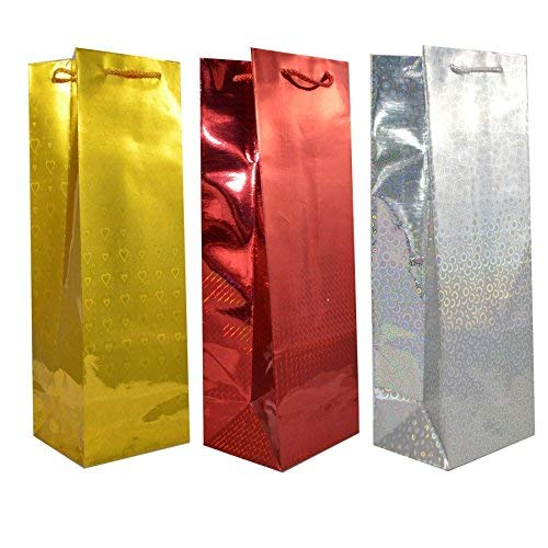 Gifts 4 All Occasions Limited SHATCHI-782 Bulk Buy Wholesale 50 Assorted Holographic Gift Bags for Wine Bottle Christmas Present, Multi