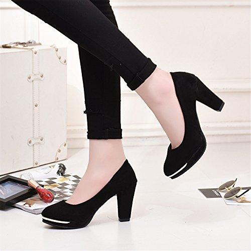 LIVY 2017 nueva cabeza redonda gruesa con los zapatos de las mujeres altos con gamuza impermeable zapatos de tacón alto zapatos de gran tamaño Negro