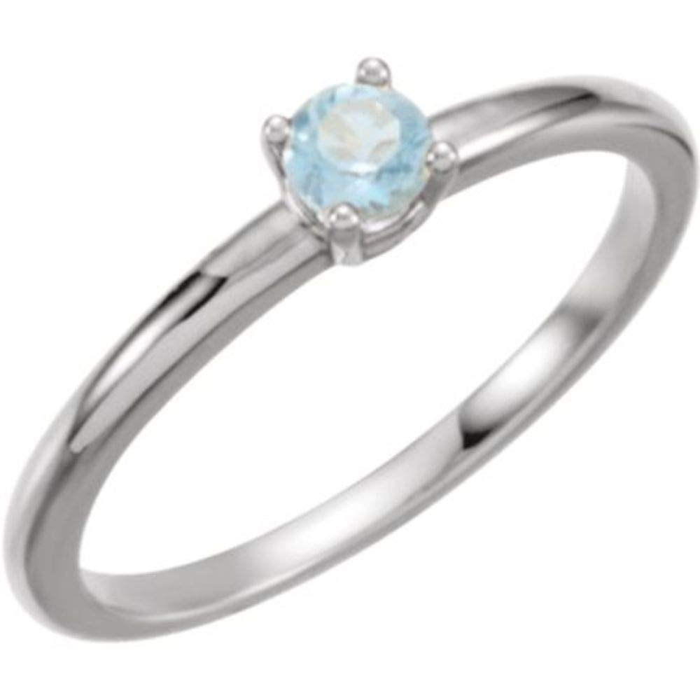 Bonyak Jewelry 14k White Gold Imitation Aquamarine March Youth Birth Month Stone Ring Size 3