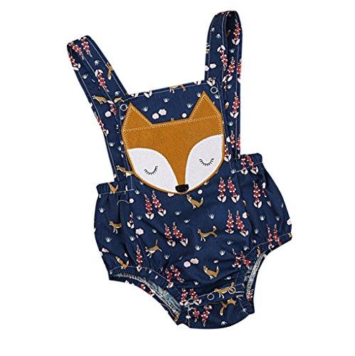 (Coper Summer Infant Baby Girls Boys Animal Print Backless Romper Jumpsuit (Blue, 12M))