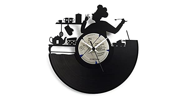 Amazon.com: Kitchen clock Wall clock Gift for chef Opening gift for resturant Italian Chef Wall clock Vinyl clock, black color Original Vinyluse Made in ...